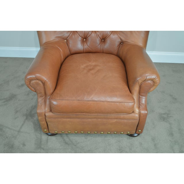 Brown Tufted Leather Writers Club Chair (A) For Sale - Image 4 of 13