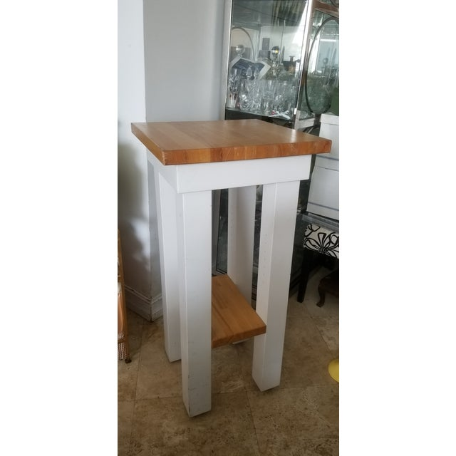 Small Butcher Block Tall Bar/ Island Table For Sale - Image 9 of 9