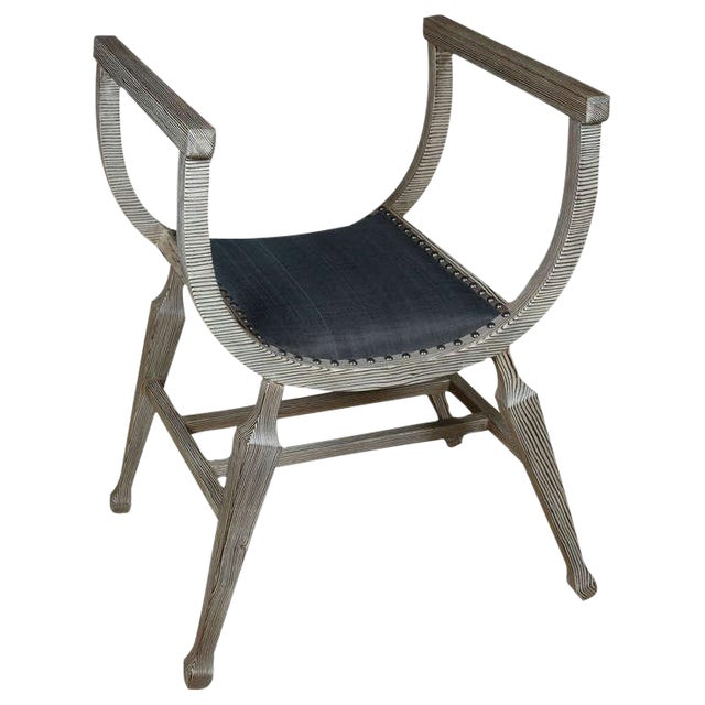 Paul Marra Distressed Fir Bench in blue horsehair and with nail head. By order. For coloration of the blue horsehair, the...