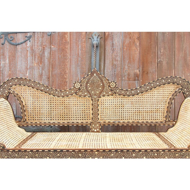 Majestic Royal Bone Inlay Settee Bench For Sale - Image 4 of 10