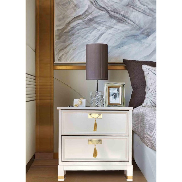 We love this pair of vintage side tables or nightstands. Solid wood and newly finished in a beautiful soft white, solid...