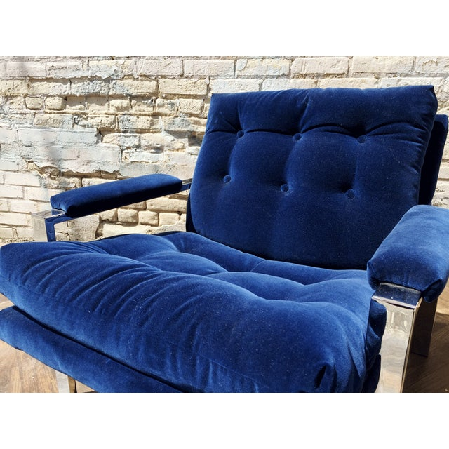 Milo Baughman Blue Velvet Club Chair - Image 5 of 5