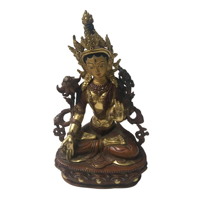 Buddhist Tara Goddess Of Cast Brass For Sale