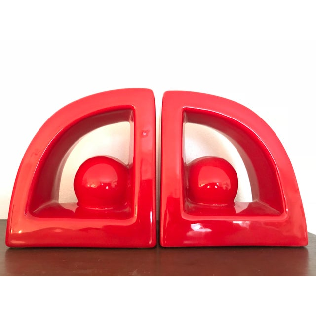 Ceramic Postmodern Jaru Red Ceramic Bookends - a Pair For Sale - Image 7 of 7