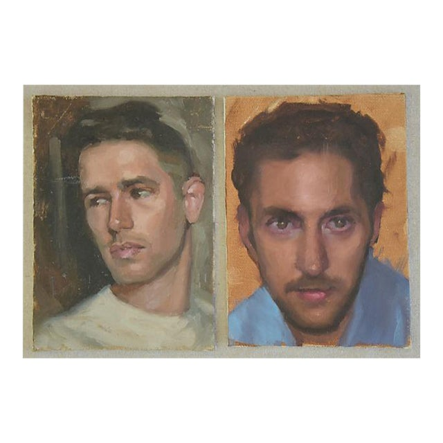 Pair Vintage Attractive Male Portrait Oil Painting Study - Set of 2 For Sale