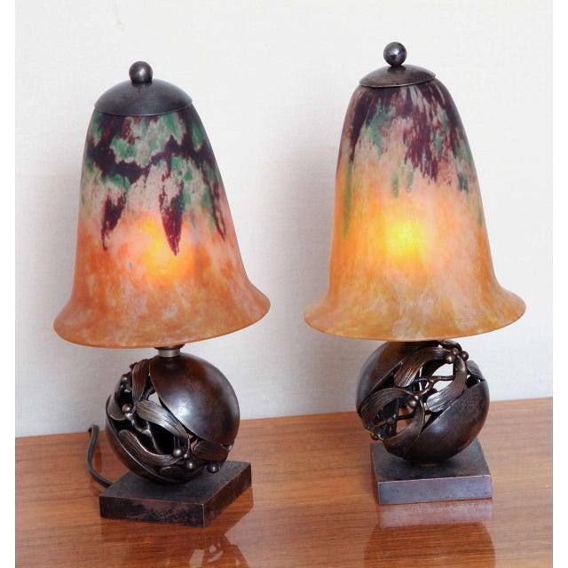 Pair of Edgar Brandt & Daum Art Deco Table Lamps For Sale - Image 10 of 10