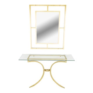 Rare Roger Thibier Gilt Wrought Iron Gold Leaf Console Table With Mirror 1960s For Sale