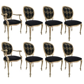 Set of Eight Vintage Carved Rope Dining Chairs For Sale