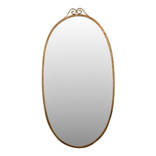 Large Italian Oval Brass Mirror in the Manner of Gio Ponti