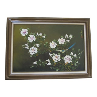 Large Vintage 1970's Chinoiserie Painting of Flowers & Bird of Paradise For Sale