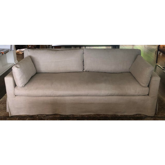 Tan Modern Restoration Hardware Belgian Track Arm Slipcovered Sofa For Sale - Image 8 of 8