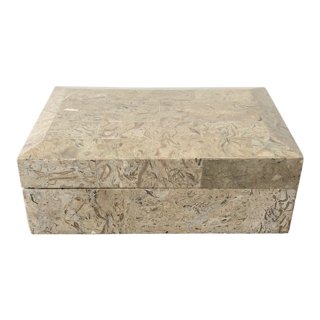 1980s Tessellated Marble Hinged Vintage Box For Sale