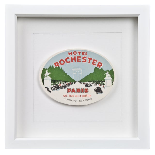 Framed French Rochester Hotel Luggage Label - Image 1 of 2