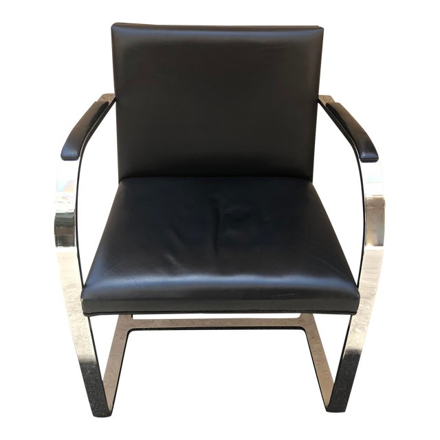 Vintage Knoll Chrome Black Chair For Sale