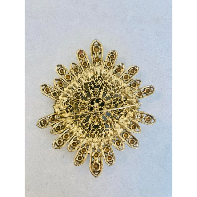 Large Filigree Crystallized Pin For Sale - Image 4 of 6