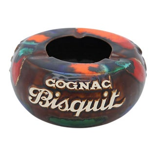 Vintage French Bistro Majolica Cognac Cigar Ashtray For Sale