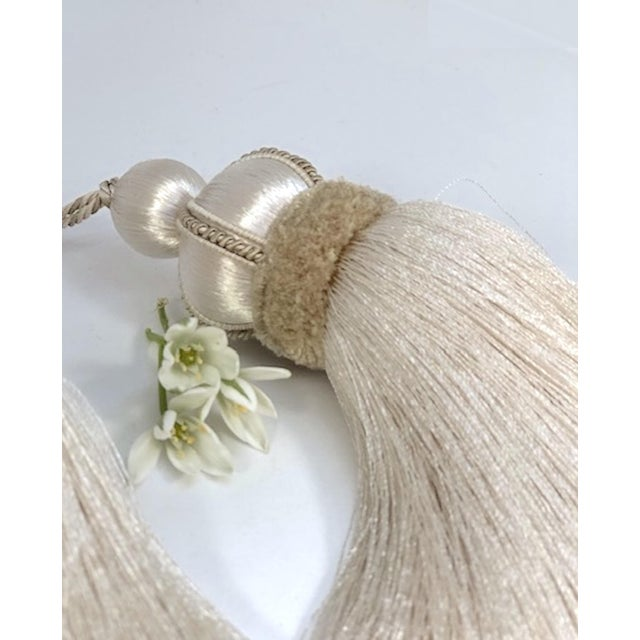 Textile Ivory Key Tassel W Cut Velvet Ruche For Sale - Image 7 of 13
