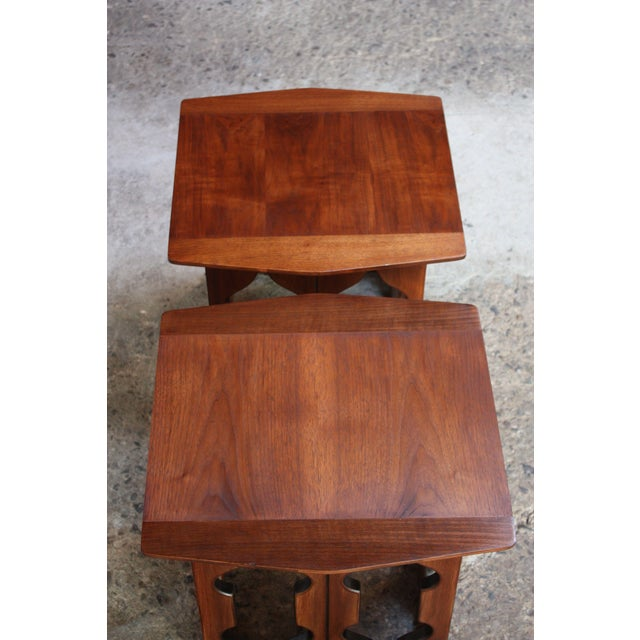 Brown Pair of Vintage Moorish Style Walnut Side Tables with Carved Decoration For Sale - Image 8 of 12