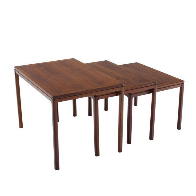 Mid-Century Modern Set of Three Teak Nesting Tables by Dux For Sale - Image 3 of 8
