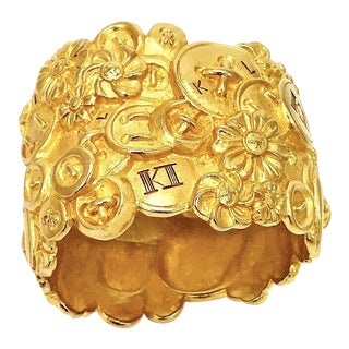 Karl Lagerfeld Wide Matte Gold Cuff For Sale