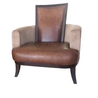 Italian Leather & Suede Occasional Chair
