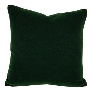 Dark Emerald Green Mohair Velvet Pillow Cover For Sale