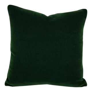 "Pierre Frey Bold Mohair Velvet in Forest - Dark Emerald Green Mohair Velvet Pillow Cover - 20"" X 20"" For Sale"