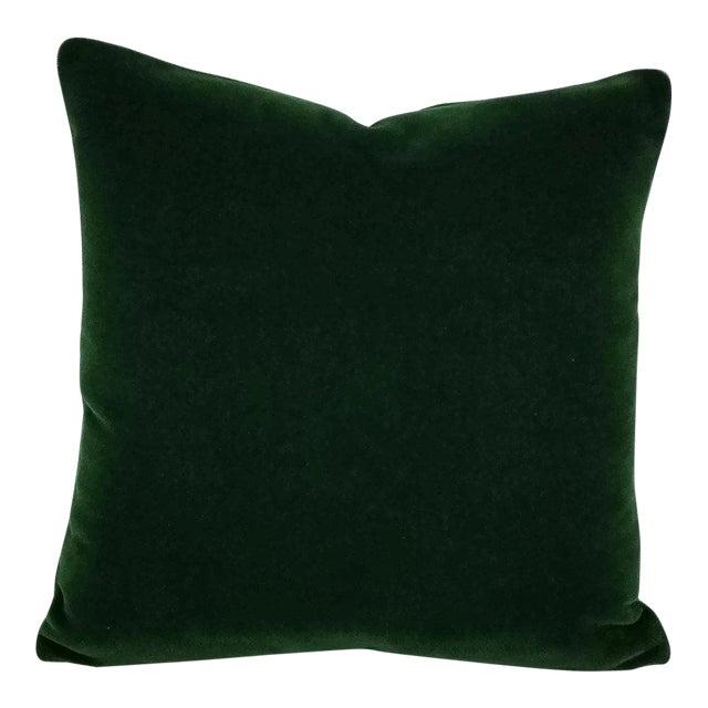 """Pierre Frey Bold Mohair Velvet in Forest - Dark Emerald Green Mohair Velvet Pillow Cover - 20"""" X 20"""" For Sale"""