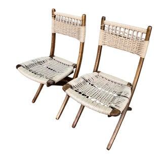 1960s Eames Era Danish Modern Hans Wegner Style Folding Teak & Rope Chairs - a Pair For Sale
