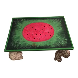 Mackenzie Childs Watermelon Hand Painted Side Table For Sale