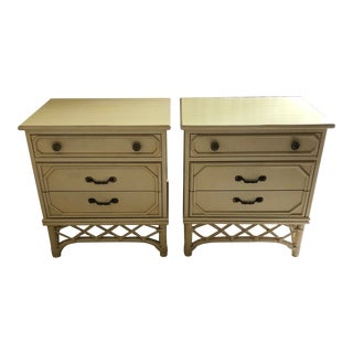 Vintage Ficks Reed Faux Bamboo Three Drawer Nightstands - A Pair For Sale