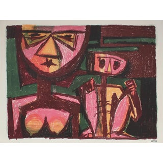 Jerry Opper Modernist Figurative Lithograph in Pink and Red, Circa 1950s For Sale