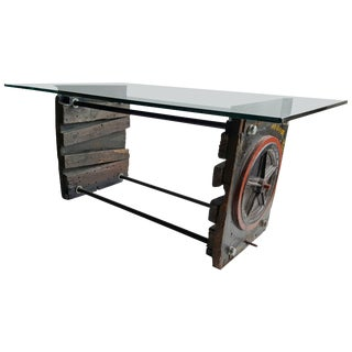 Industrial Factory-Foundry Forms Table/ Desk Glass Work Surface For Sale