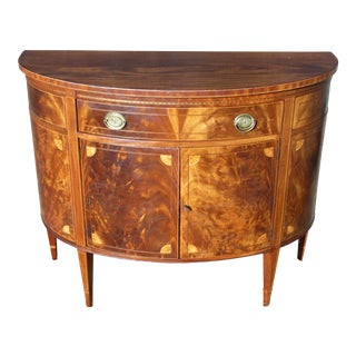 Antique Federal Inlay Mahogany Demilune Cabinet Console Table Entry Chest Wm a Berkey For Sale