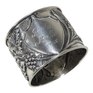 Hand Repousse Portuguese Silver Napkin Ring For Sale