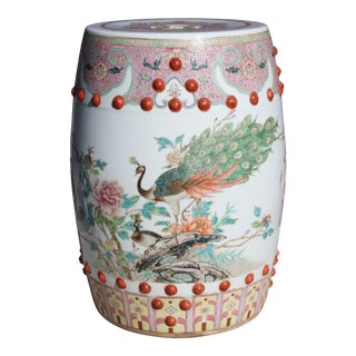 Chinese Famille Rose Porcelain Peacock Garden Seat For Sale