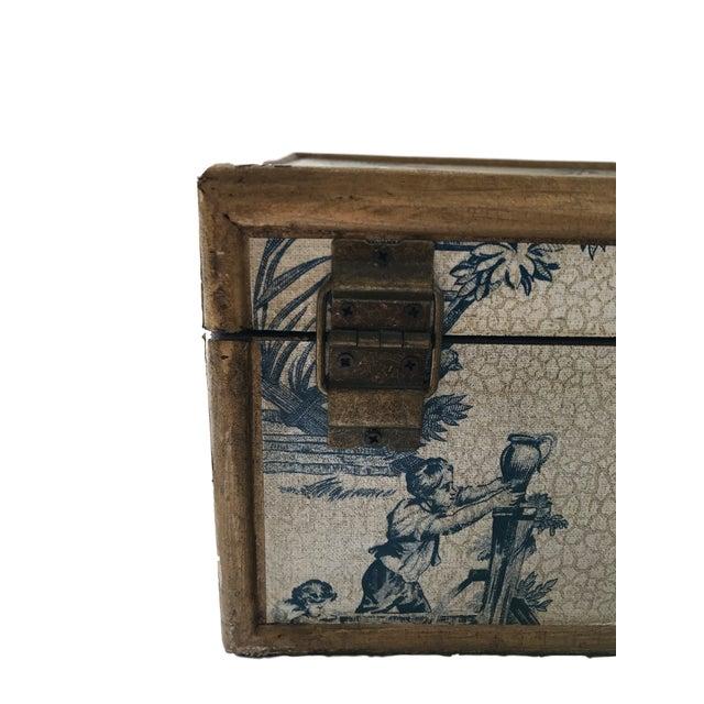Antique Blue & White Toile Box - Image 3 of 9