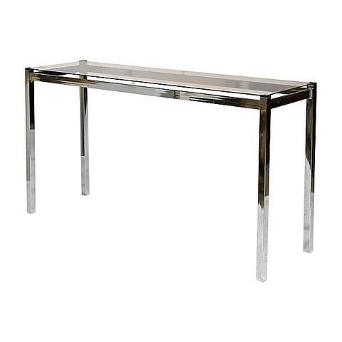 Vintage chrome and smoked glass console table, circa 1970s. Light wear from use. No maker's mark.
