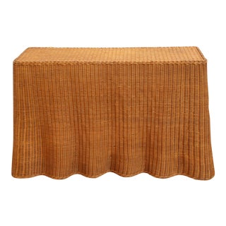 Vintage Trompe l'Oeil Wicker Draped Console Table For Sale