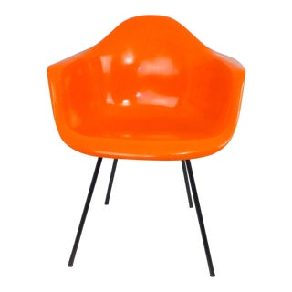 Mid-Century Modern Molded Orange & Black Fiberglass Chair