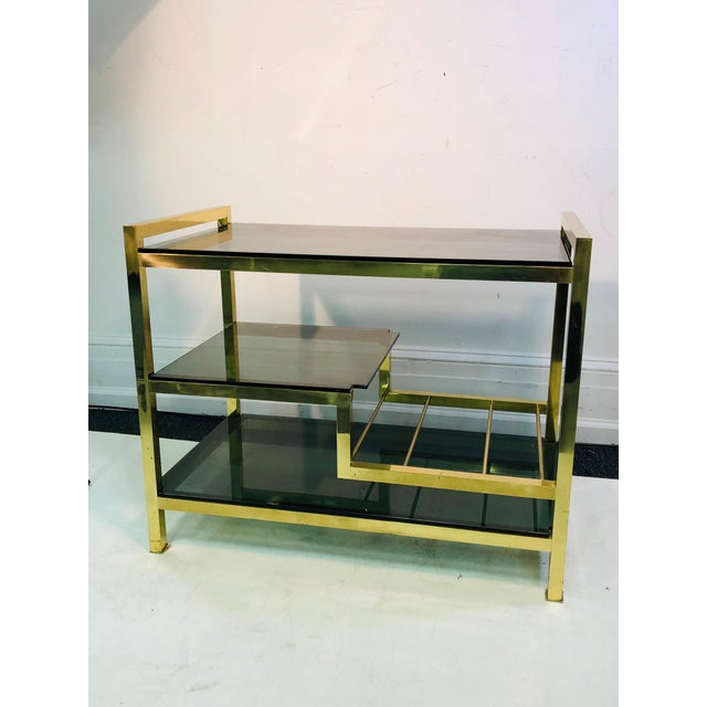 1970s Italian Brass Bar Cart With Smoke Glass Shelves For Sale - Image 10 of 10