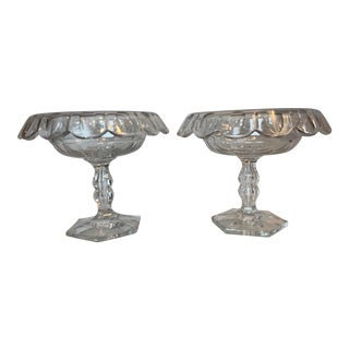 Vintage English Glass Compotes - a Pair For Sale