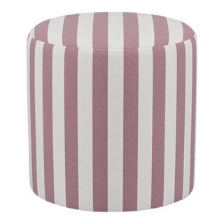 Drum Ottoman in Orchid Cabana Stripe For Sale