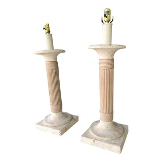 Elegant Neoclassical Marble and Wood Lamps - a Pair For Sale
