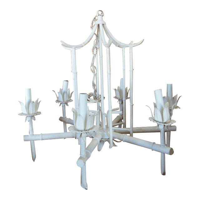 Faux Bamboo Vintage Pagoda Chandelier - Image 1 of 7