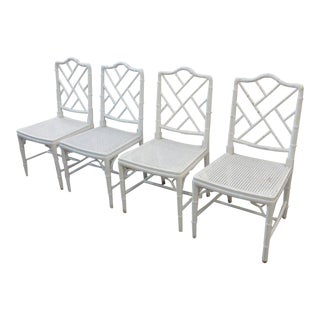 Faux Bamboo Chippendale Side Chairs - Set of 4