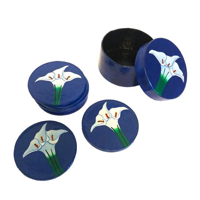 1970s Hand-Painted Papier-Mâché Coasters - Set of 8 For Sale - Image 5 of 5