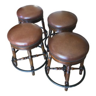 Vintage Theadore Alexander Leather and Brass Counter Stools- Set of 4 For Sale