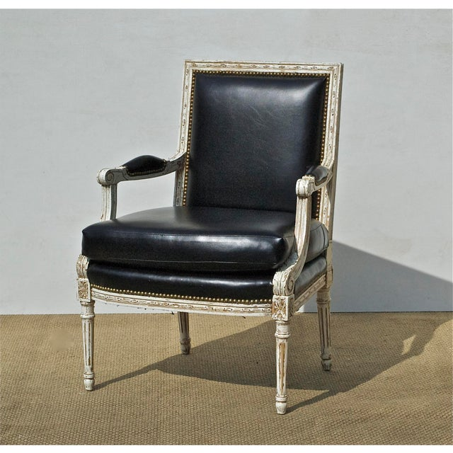 Vintage Black & White Louis XVI Bergere Chairs - A Pair - Image 3 of 9