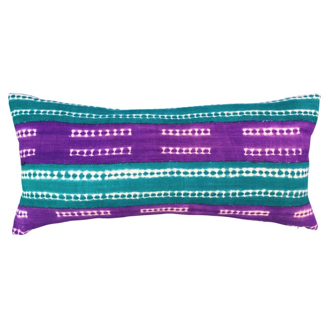 Purle and Teal African Mud Cloth Pillow - Image 1 of 8
